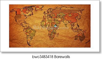 Art print of ethiopia on world map barewalls posters prints art print of ethiopia on world map gumiabroncs Images
