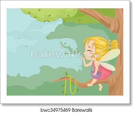 Cute Kid Girl Fairy Dust Branch art print poster