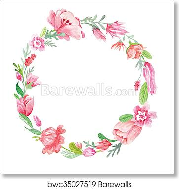 and pink and red heart watercolor on canvas. Wreath herb