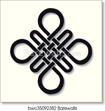 74b163649 Auspicious Endless knot. Buddhist symbol. Black, Art Print ...
