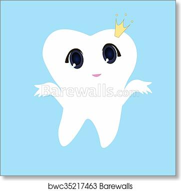 photograph about Tooth Fairy Card Printable referred to as Lovely cartoon enamel smiling, Card tiny satisfied Enamel Fairy, white upon a blue heritage, enamel vector icon case in point, initial enamel emblem artwork print