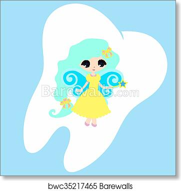 picture relating to Tooth Fairy Card Printable titled Adorable cartoon enamel smiling, Princess Card tiny content Enamel Fairy, white upon a blue heritage, enamel vector icon instance, initially enamel brand artwork