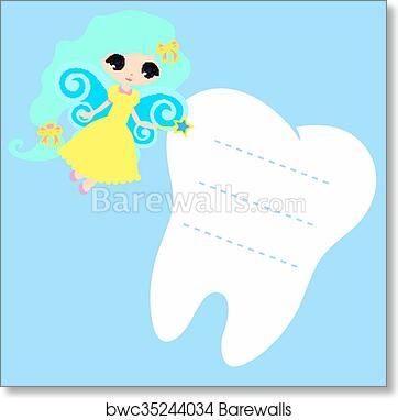 graphic relating to Tooth Fairy Card Printable named Adorable cartoon Fairy smiling, Princess Card minor content Enamel Fairy, white upon a blue history, tooth vector icon instance, 1st enamel symbol,