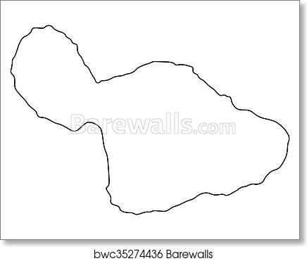photo about Maui Map Printable identified as Map of Maui artwork print poster