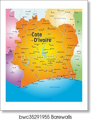 map of Cote d Ivoire art print poster