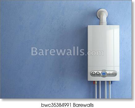 Art Print of Gas boiler on blue background. Gas boiler home heating ...