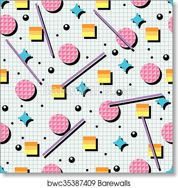 Vector seamless 80s or 90s background pattern art print poster