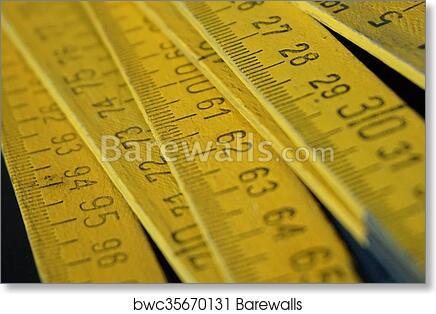 Yellow folding meter ruler art print poster