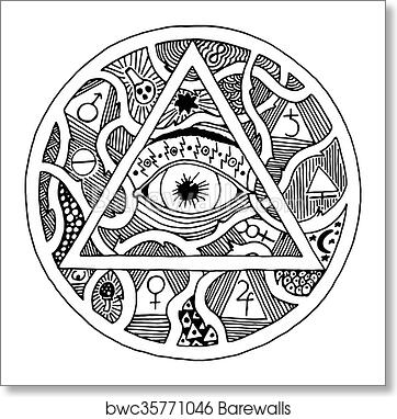 Art Print Of All Seeing Eye Pyramid Symbol In Tattoo Engraving Design