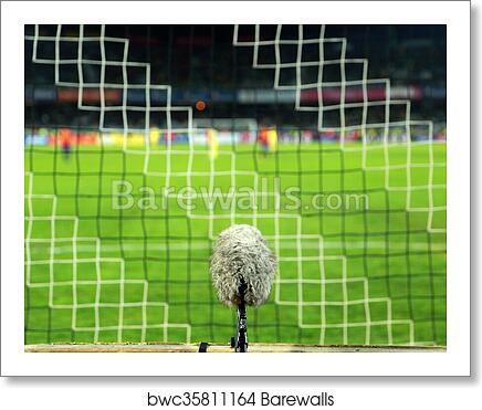 a69a8b9f9 Professional sport microphone on a soccer field behind the net, Art Print