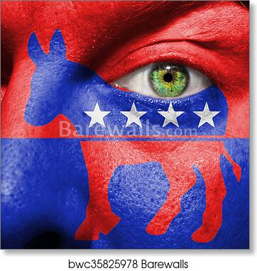 Art Print Of Democratic Party Donkey Symbol Painted On A Mans Face
