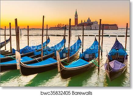art print of gondolas in venice barewalls posters prints