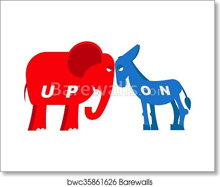 Art Print Of Red Elephant And Blue Donkey Symbols Of Political