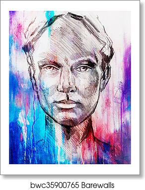 Art Drawing Beautiful Girl Face And Abstract Color Background Art Print Poster