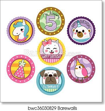 happy birthday stickers art print barewalls posters prints bwc36030829 happy birthday stickers art print poster