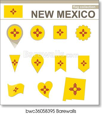 New Mexico Flag Collection Art Print Barewalls Posters Prints Bwc36058395
