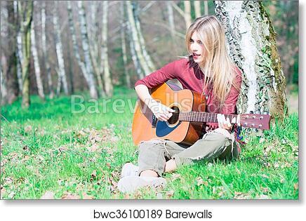 art print of blonde girl plays guitar barewalls posters prints