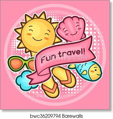 2c4e2c475 Cute travel background with kawaii doodles. Summer collection of cheerful  cartoon characters sun