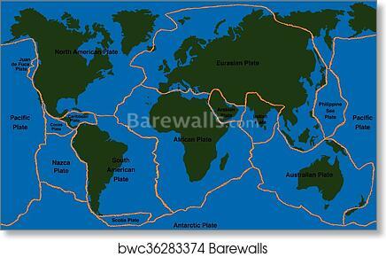 World Map Of Fault Lines.Art Print Of Plate Tectonics World Map Faultline Barewalls Posters