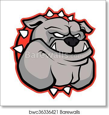Bulldog Head Mascot Art Print Barewalls Posters Prints