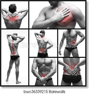 Pain In A Man S Body Isolated On White Background Backache Heart Attack Kidney Pain Prostatitis And Stomach Ache Collage Of Body Parts Of Several Photos With Red Dots Art Print Barewalls Posters