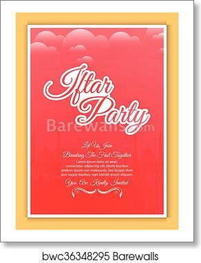 Iftar Party Invitation Abstract Art Print Poster