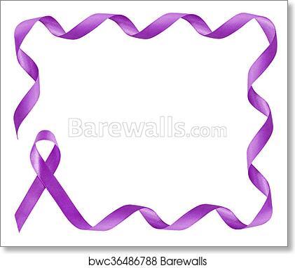 Art Print of Pancreatic Cancer Awareness Purple Ribbon frame with ...