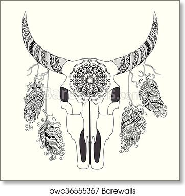 Decorated Cow Skull With Mandala And Feathers Art Print Poster