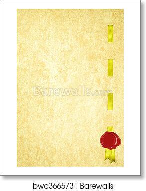 art print of diploma certificate ribbon wax seal barewalls posters
