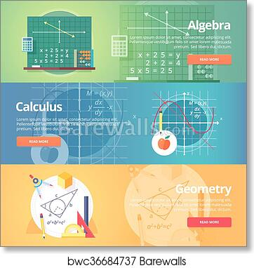 Mathematical science  Algebra  Calculus  Geometry  Exact science  Education  and science banners set  Vector flat design concept  art print poster