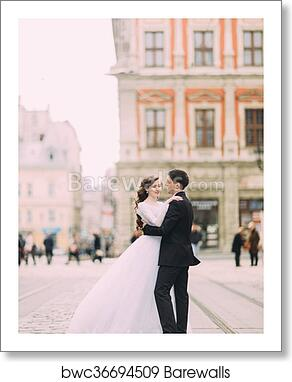 Brilliant Happy Bride And Stylish Groom Running Hugging On The Background Old Sunny City Art Print Poster Download Free Architecture Designs Scobabritishbridgeorg