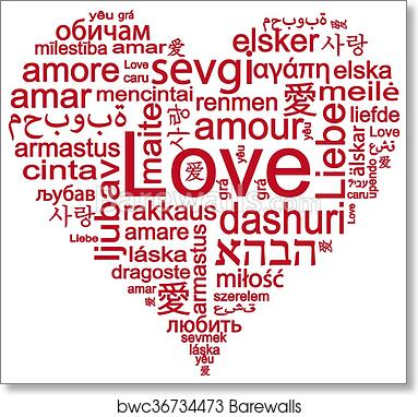 Art Print Of Heart Shape With Words Of Love