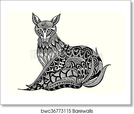 Art Print Of Red Fox Coloring Book