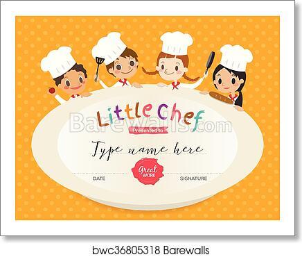 Art Print of Kids Cooking class certificate design template ...