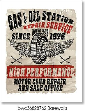 Vintage gasoline retro signs and labels  Gas station  art print poster
