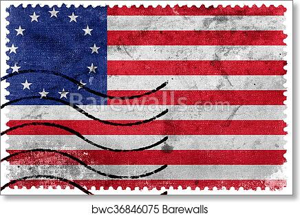 photograph relating to Betsy Ross Printable Pictures named Betsy Ross Flag, previous postage stamp artwork print poster