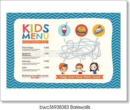 Art Print Of Cute Colorful Kids Meal Menu Template Barewalls