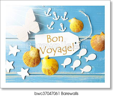 Sunny Summer Greeting Card With Bon Voyage Means Good Trip Art Print Barewalls Posters Prints Bwc37047061