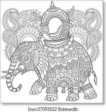 Art Print Of Hand Drawn Stylized Elephant