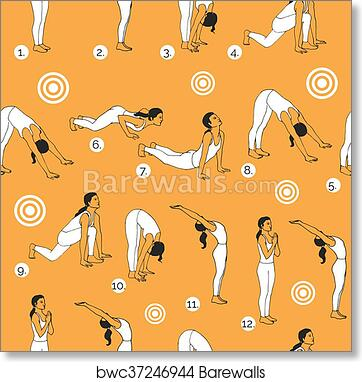 Art Print Of Yoga Poses As Seamless Background
