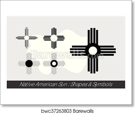 Art Print Of Native American Sun Symbols Barewalls Posters