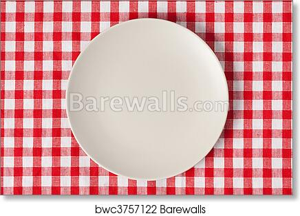 art print of plate on checkered table cloth   barewalls posters