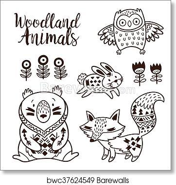 e0d7df47bc4b4 Art Print of Decorative ornamental woodland animals vector set ...