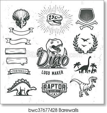 art print of dino logo maker set dinosaur logotype creator vector
