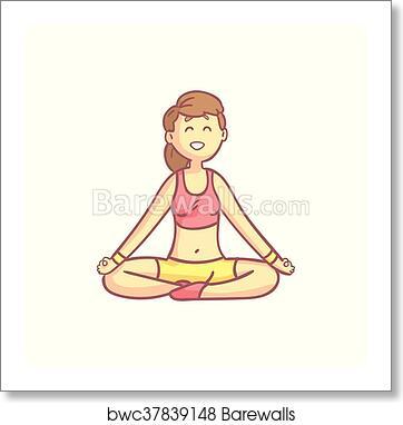 Girl In Lotus Yoga Pose Art Print Barewalls Posters Prints Bwc37839148