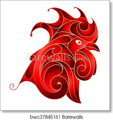 Art Print Of Red Rooster As Symbol For 2017 By Chinese Zodiac