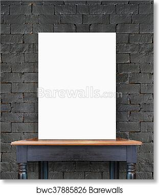 Art Print Of Blank Poster On Vintage Wooden Table At Brick Tiles WallTemplate For Add Your Content