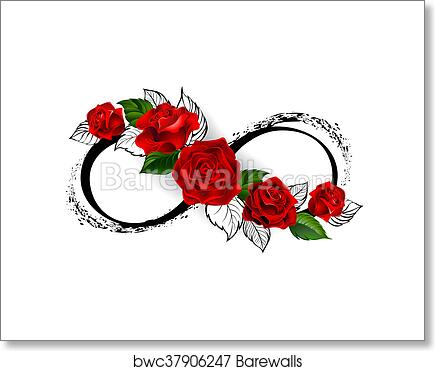 Art Print Of Infinity Symbol With Red Roses Barewalls Posters