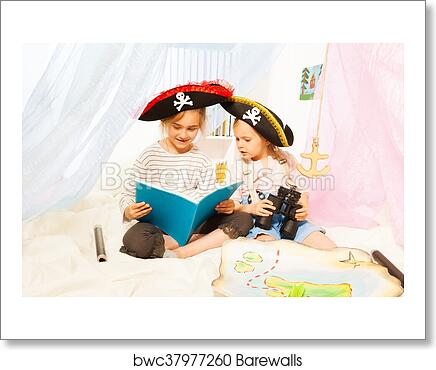 Art Print Of Two Girls In Pirates Costumes Reading Fairy Tale