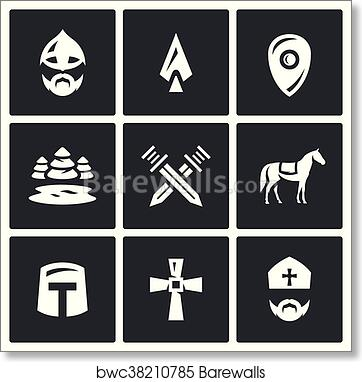 Vector Set of Ice Battle Icons  Warrior, Spear, Shield, Lake, Forest,  Crossed, Swords, Knight, Crusader, Cross, Priest  art print poster